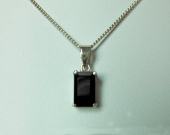 Classic Handcraft 925 Sterling Silver Black Onyx Rectangle Charm,Necklace & Pendant,Rectangle Onyx Charm,Personalized Gift,Gifts For Her