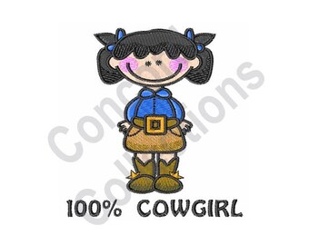 100% Cowgirl - Machine Embroidery Design, Cowgirl