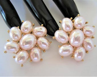 Pearl Signed Earrings, Vintage Richelieu, Faux Pearls, Designer Clip On - Pearl Gold Tone Setting