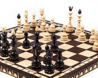 Brand New Luxury Hand Carved Indian Wooden Chess Set 53cm X 53cm