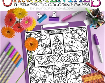 """Easter Coloring Page - """"Scrollwork Cross"""" OrnaMENTALs #0101 PDF - Hand-Crafted Coloring Pattern"""