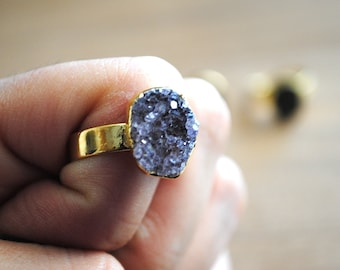 Druzy Ring - Agate Druze Gold Plated Ring. Adjustable Druzy Ring. Druse. Crystal Ring.