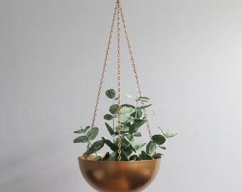 Boho Hanging Planters-Metal-Chain-Hanging Pots-Modern Plant-Gold-Silver-Copper