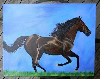 """Original acrylic painting - """"Majesty"""" - 16x20 horse painting"""