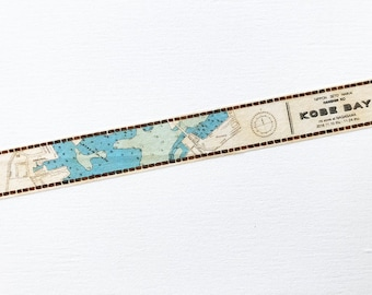 Masking tape , washi tape, limited, map, bay, sea, brown, blue, green, beige, graphic, pattern, scrapbook, planner