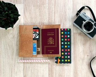 Passport gifts - gifts for travelers - Cork passport cover vegan, travel wallet cork