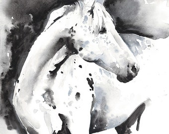 Horse Painting Print, Horse Art, Watercolor Horse Painting, Horse Watercolor, Horse Illustration, Black and white horse, Horse Wall Art