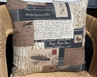 postcard pillow cover, postal pillow cover, postage pillow cover, script pillow, gray pillow cover, letters pillow cover, postal cushion