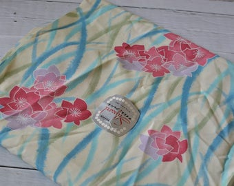 Vintage Japanese Kimono Fabric Polyester Flowers 10 Yards
