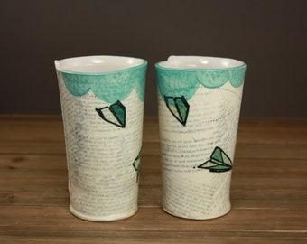 Paper Airplane Tumbler- wanderlust inspired ceramic drinkware- travel- wildflower vase- cocktail tumbler-gift for a graduate