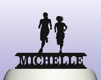Personalised Acrylic Female Runner Athletics and Womens Cross Country Running Cake Topper