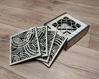 Oak Wood Coaster set with Display Box