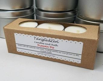 Pumpkin Pie - 6 All Natural Soy Tea Light Candles