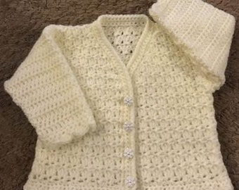 PDF Instant Download Baby Crochet Cardigan Pattern in DK. Sizes Birth to 6 Years. (1010)