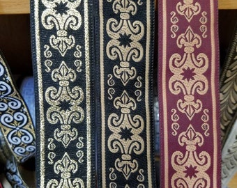 Fleur-de-lis Woven Fabric Trim 1 1/4 inch wide sold by the yard