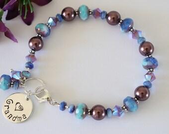 Personalized Grandma Bracelet, Mom Bracelet, Blue Bracelet, Lavender Bracelet, Crystal, Teal Blue, Monogram Bracelet, Beaded Bracelet