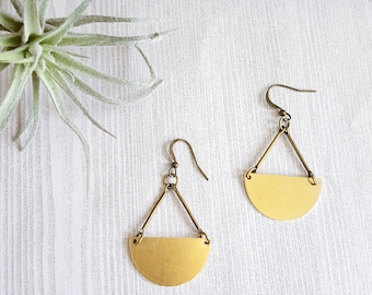 Half Moon Earrings Half Circle Earrings Half Moon Gold Geometric Earrings Moon Phase Earrings Geometric Earrings Brass Earrings Modern
