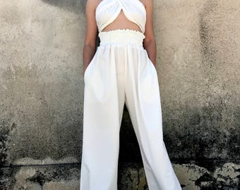Palazzo Pants, White Trousers, High Waisted Pants, Avant Garde, Women White Pants, Plus Size Pants, Minimalist Fashion, Wide Pants