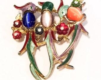 Enamel Parrot Pin or Brooch, Glass, Vintage Jewelry SALE
