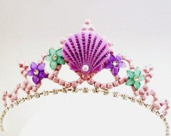 Mermaid Crown, Mermaid Sea Shell & Flower Tiara, Mermaid Tiara, Ariel The Little Mermaid Tiara, Mermaid Headband, Jeweled Purple Sea Shell