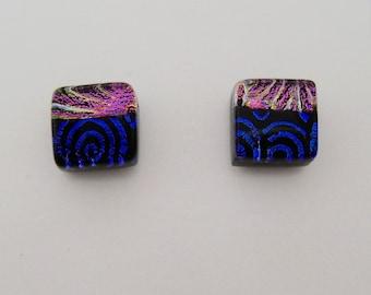 Tiny dichroic glass post earrings.