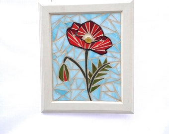 """Stained Glass Poppy Mosaic Panel Red Poppy Stained Glass Panel Poppy Home Decor Window Hanging Red Stained glass poppies 10 1/2"""" x 12 1/2"""""""