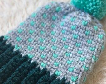 Crocheted Fair Isle Beanie - Blue Hues