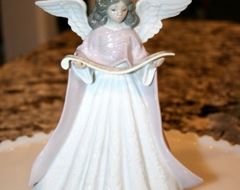 Lladro Angel in Pink//Figural Tree Topper Porcelain-Angels//Vintage Porcelain Lladro Angel