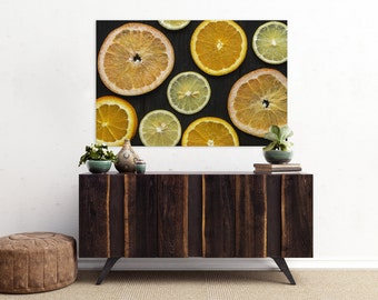citrus v. one // food photography print // kitchen decor // dining room // canvas art // canvas print // rustic farmhouse wall art