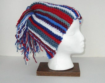 Knit Crazy Hat / Red, White and Blue / Crazy Hat for the Super Sports Fan