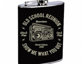 Sooku Design Stainless Steel Flask 8oz with Beautiful T-shirt Design Boombox