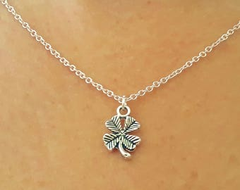 Four Leaf Clover Necklace - Leaf Necklace - Lucky Necklace - Silver Charm Necklace - Leaf Jewelry - Silver Leaf Necklace - 2 Sizes Available