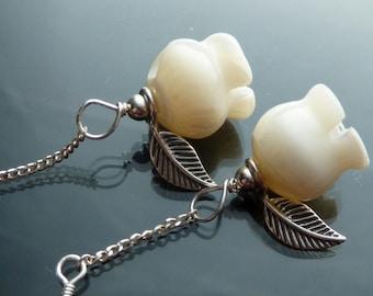 Dainty Rose Earrings carved mop roses in sterling silver flowers OOAK jewelry