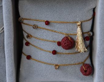 Long necklace and/or hand-made bracelet in pure royal silk, crystals, boule and tassel