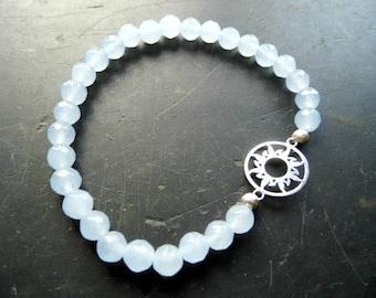 Bracelet, Blauquarz, Sun, sterling silver, light blue, women, joy