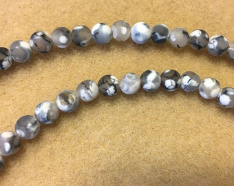 Clearance Gray White Crackled Agate 6mm Matte Rounds 8 inch Strand Approx 31 beads