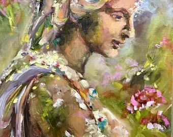 Original oil painting,,Charleston garden statue,,landscape,,impressionist style,,South Carolina,, Brenda Peake,,wall decor,,