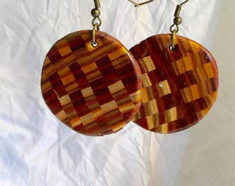 Round polymer clay, wood, iridescent tone checkerboard pattern earrings