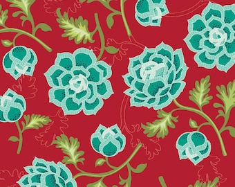 Dark Red & Aqua Floral Fabric, La Vie Boheme, Riley Blake Fabric C4740 Red, The Quilted Fish, Floral Quilt Fabric, Cotton