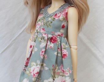 Blue rose print dress for MSD Minifee/Unoa, Slim Mini