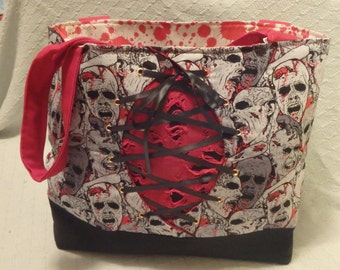 Zombie tote with Corset on front