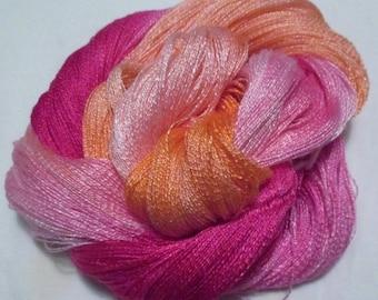 Hand dyed Tencel Yarn - 900 yds. Lace Wt. Tencel Yarn  FLAMINGO