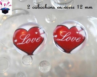 2 glass cabochons 12 mm for loop love theme