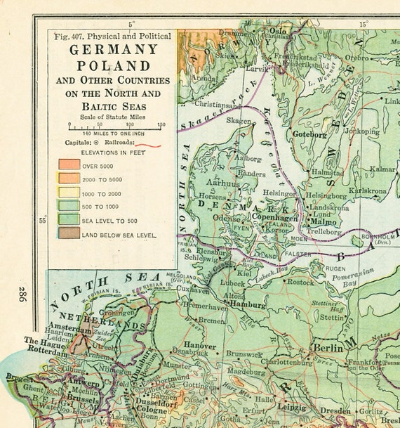 1930 Germany Poland map print Baltic States Baltic Sea map