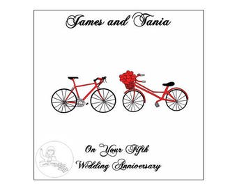 Handmade Personalised Fifth Wedding Anniversary Card 5th Road Bikes Bicycle Hearts Wood