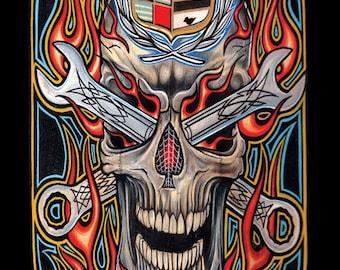 "custom art print ""Caddyskull"" Lowbrow Art, Kustum Kulture Art"