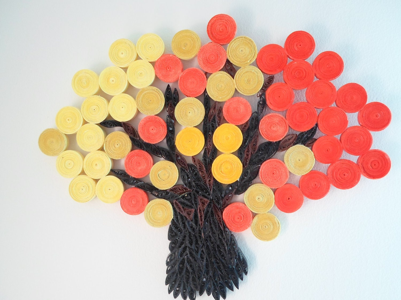 Wall decoration Orange Yellow Wall hanging Autumn Fall Tree