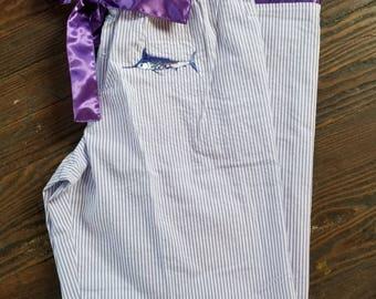 Blue Marlin embroidered purple seersucker cotton Pajama Pants pocket satin tie
