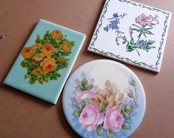 3 Large Vintage Flower Focal Tiles for Mosaics Roses