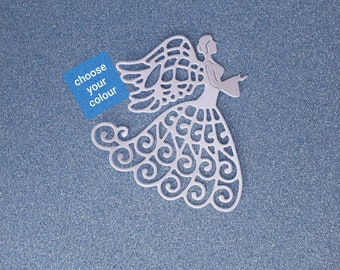Angel - intricate die cut - flat colour cardstock - approx 70mm x 65mm - DC041